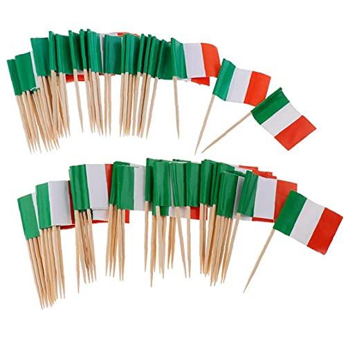 EElabper 100pcs Papier Italien-Flagge Picks Mini Obst Lebensmittel Zahnstocher Sticks Flagge