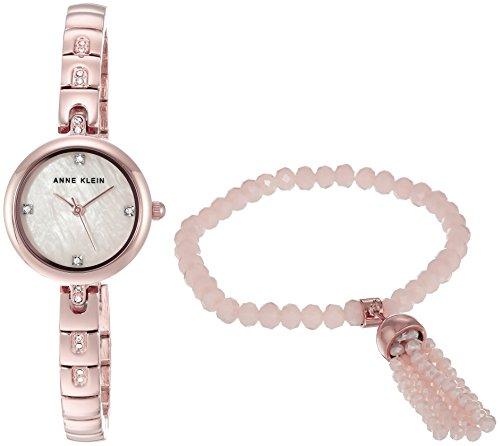 Anne Klein Women's AK/2854RGST Swarovski Crystal Accented Rose Gold-Tone Watch and Beaded Bracelet Set