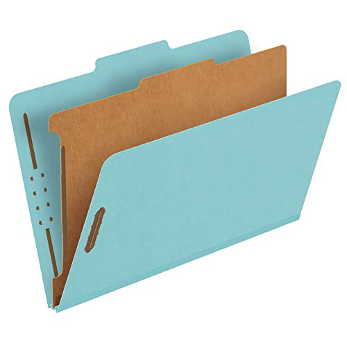 """Pendaflex Recycled Classification File Folders, 1 Divider, 2"""" Embedded Fasteners, 2/5 Tab Cut, Legal Size, Light Blue, Box of 10 (28777R)"""