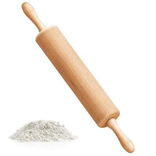 WELLXUNK Umweltfreundliches Nudelholz aus europäischem Buchenholz, Non-Stick Null Wartung Zum Perfekt Backzubehör für Fondant, Pizza, Kuchen, Nudelteig und Mürbeteig