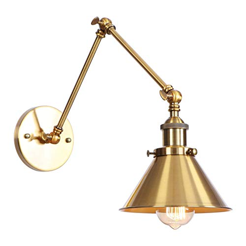 Lámpara de pared ATC con 2 brazos, estilo retro industrial, lámpara de pared de estilo vintage (bombillas no incluidas) para decoración del hogar, cafetería, bar