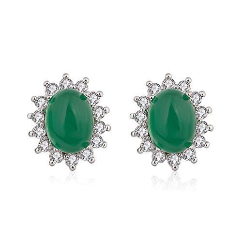 Pendientes Vintage 925 joyería de plata ovalada esmeralda accesorios de aretes de piedras preciosas para mujeres compromiso de boda regalo de fiesta