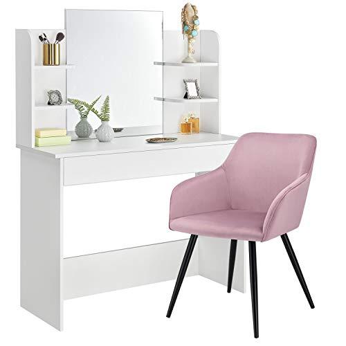 ArtLife Schminktisch Bella mit Stuhl, Spiegel & Schublade – MDF Holz weiß – Sessel in Rosa - Frisiertisch für Damen und Mädchen – Kosmetiktisch