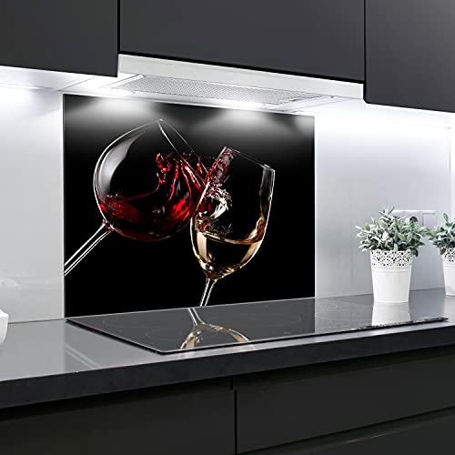 Crédence en verre trempé résistant à la chaleur - 90 x 65 cm - 4 mm d'épaisseur - Idéal derrière les cuisinières à gaz, vitrocéramique et induction - Facile à nettoyer et à suspendre