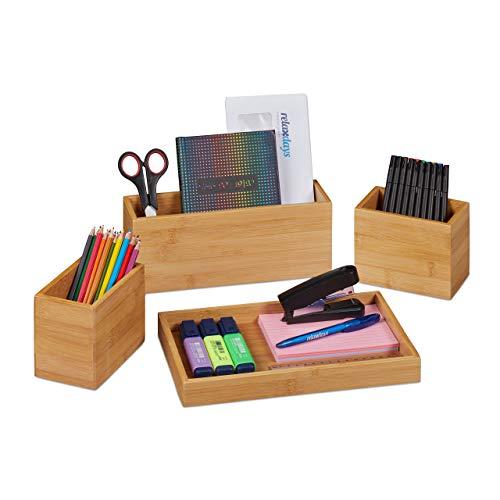 Relaxdays Juego de 4 organizadores de escritorio, portalápices, bandeja de bambú, para utensilios de oficina, cartas, color natural