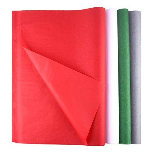 FEPITO 100 Blatt Weihnachtspapier Geschenkpapier Geschenkpapier Rot Grün Grau und Weiß Seidenpapier für Weihnachtsgeschenkverpackung, Basteln (14 x 20 Zoll)