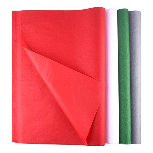 FEPITO 100 Sheets Christmas Tissue Paper Gift Wrapping Paper Red Green Grey and White Tissue Paper for Xmas Gift Wrapping, Crafts(14 x 20 Inch)