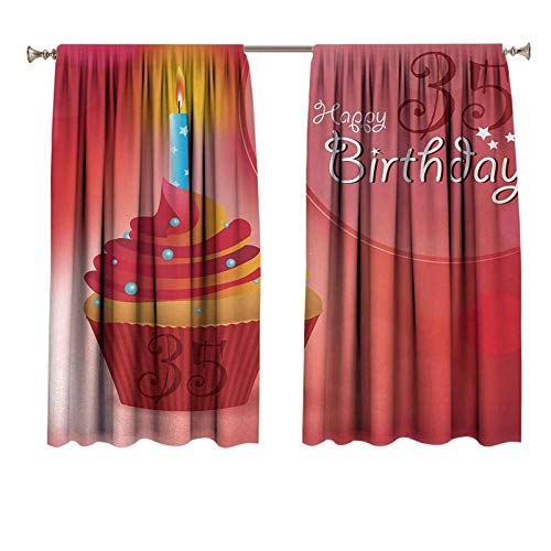 35th Birthday Wedding Drapery Cute Burning Candles on a Yummy Looking Cupcake with Stars and Dots Rod Pocket Curtain Panels for Kitchen 55x63 inch