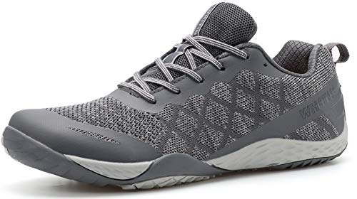 WHITIN Men's Trail Running Shoes Minimalist Barefoot 5 Five Fingers Wide Width Size 10 Toe Box Gym Workout Fitness Low Zero Drop Male Light Weight Comfy Lite Tennis FiveFingers Grey 43