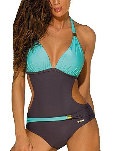 Sexy Maillot de bain Femme 1 Piece Bikini Imprimee Push Up Soutien-gorge Trikini Dos Nu (vert, L)
