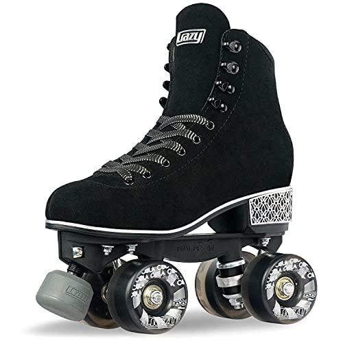 Crazy Skates Evoke Roller Skates for Women - Stylish Suede Quad Skates - Black (Size: US Mens 8 | US...