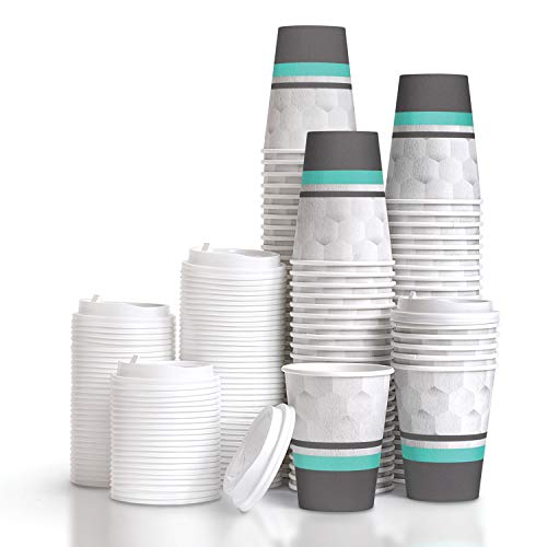 100 Pack of Disposable 12 OZ Coffee Cups With Lids, Insulated Foam Paper Cups For a Hot Drink, Convenient Easy to Grip, Tight Lids To Prevent Leaks, For Home And Office Use.