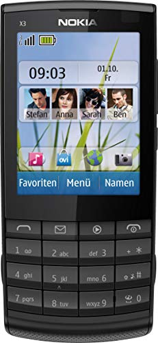Nokia X3-02 Handy (6.1cm (2.4 Zoll) Touch&Type Display, Bluetooth, WLAN, microSD, 5 MP Kamera) dark metal (Generalüberholt)