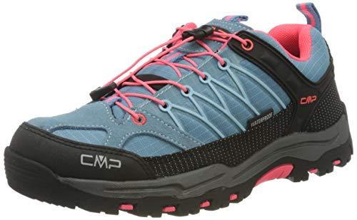 CMP Campagnolo Kids Rigel Low Trekking Shoe WP, Sandali da Arrampicata Unisex-Bambini, Turchese (Clorophilla-Red Fluo 89bd), 38 EU