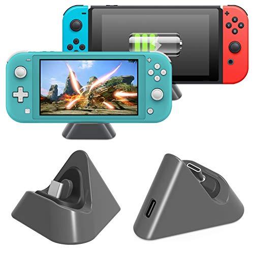 MENEEA Station de Charge pour Nintendo Switch et Switch Lite 2019, Base de Charge Triangulaire Stable avec Port de Type C (Gris)