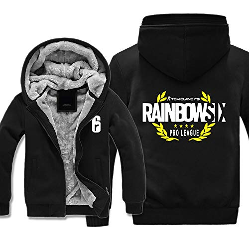 Whittie Rainbow 6 Rainbow SIX Siege Plus Size Kapuzenpullover Jacke Winter Baumwollkleidung,Black,3XL