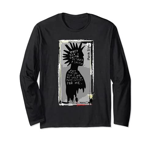 Camisa Punk ¿Por qué respetar el sistema? Camiseta vintage estilo anarquía Manga Larga