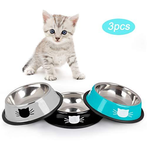 Dorakitten Futternapf Katze, 3 Stück Edelstahl rutschfest Katzen Napf Set, Katzennapf Futterschüssel Katze mit 2 Haustier Essenslöffel - Schüssel für Katze Welpe Hamster Kaninchen
