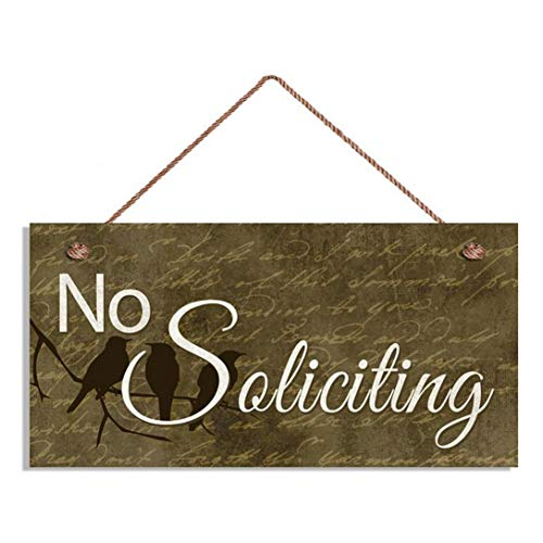 No Soliciting Sign, Birds On A Branch, 5' x 10' Sign, Rustic Decor, Housewarming Gift, Front Door Sign(E4-WH902)