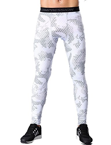 Men's Camouflage Compression Shorts Workouts Tight Leggings Wicking Pants US XXL=Tag XXXL White