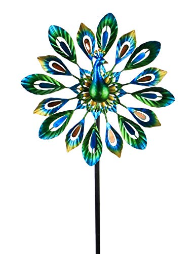 """MUMTOP Wind Spinner 51"""" Peacock Double Wind Sculpture is Suitable for Decorating Your Patio, Lawn & Garden"""
