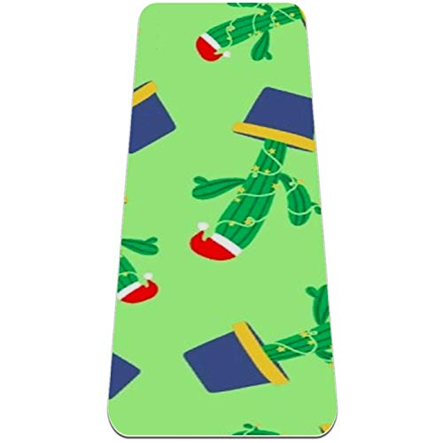 nakw88 Cactus and Christmas hat Non Slip Yoga Mat Thick Exercise Mats Fitness Mat for Yoga, Pilates & Floor Workouts (72x24in x 6mm) for women girls