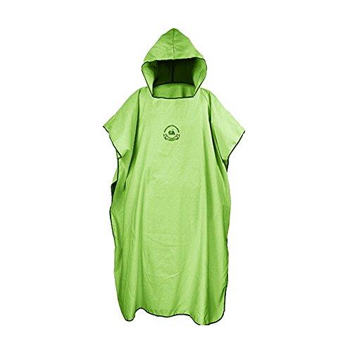 SHANNA Poncho de toalla cambiante para surf, natación, traje de neopreno, compacto y de secado rápido, protector solar de playa, talla única (verde)