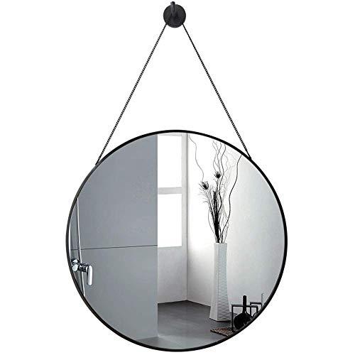 WMDHH Espejo Colgante de baño Redondo Moderno de 50 cm, Espejo de tocador de Vidrio Redondo, con diseño de Cadena Colgante de Hierro Forjado, Dormitorio, Sala de Estar, Pasillo, Cualquier habitación