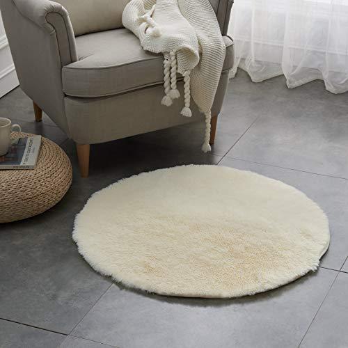 Teppich Wölkchen Hochflor-Plüsch-Teppich I Wohnzimmer Kinderzimmer Schlafzimmer Flur Läufer I rutschfeste Unterseite I 80 rund - Creme
