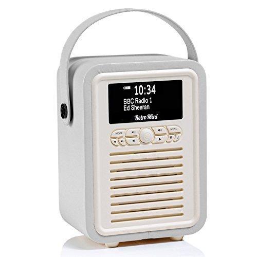 VQ Portable Retro Mini DAB and DAB+ Digital Radio with FM, Bluetooth, Aux, USB, Alarm Clock - Light Grey