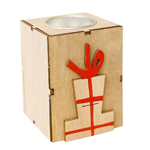 happyhouse009 Kerzenhalter, Laternen für Kerzen, Vintage, Mini-Holz-Teelichter, Kerzenhalter, Weihnachtsdekoration Gift Box#