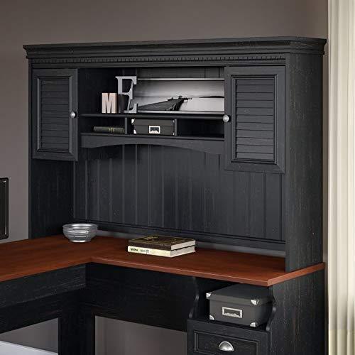 Hutch for L Desk 60.27' W X 12.28' D X 38.22' H - Antique Black/Hansen Cherry