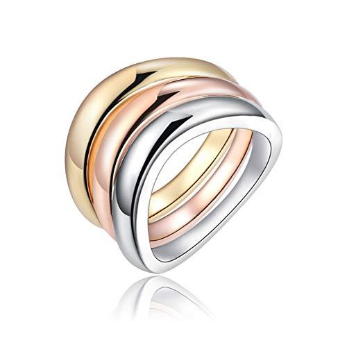 ERDING Mode/Goedkoop/Geschenk/3 Stks/Set Rose Goud Zilver Kleur Ringen RVS Ring Voor Vrouwen Bruid Verlovingsringen Mujer bague Sieraden Z4