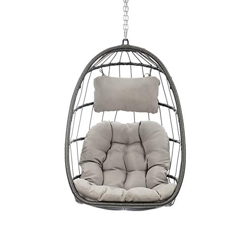 Indoor Outdoor Wicker Rattan Swing Chair Hammock Chair Hanging Chair with Aluminum Frame and Grey Cushion Without Stand 265LBS Capacity