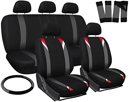 OxGord 17pc Set Flat Cloth Mesh/Red, Gray & Black Auto Seat Covers Set - Airbag Compatible - Front Low Back Bucket Seats - Universal Fit for Car, Truck, SUV, Van - FREE Steering Wheel Cover