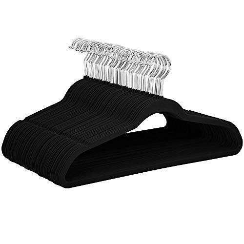 YAHEETECH Non Slip Velvet Hangers - Heavy Duty -Flocked Hangers Coat Suit Hangers Space Saving Clothes Hangers with 360° Swivel Hook, Black - Pack of 100