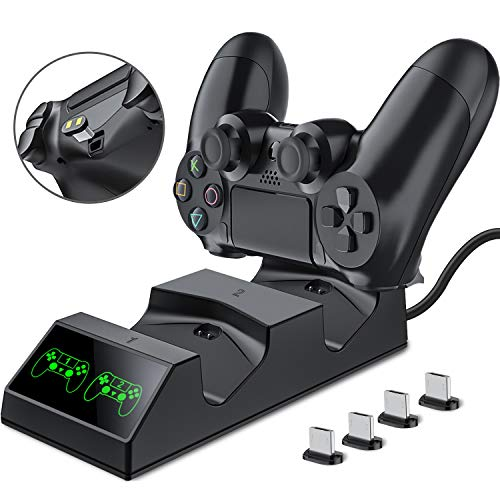 PS4 Controller Ladestation, BEBONCOOL PS4 Ladestation Controller Ladegerät mit 4 Micro USB Lade Dongles LED-Anzeige PS4 Ladestation für Sony Playstation4 / PS4 / PS4 Slim / PS4 Pro Wireless Controller
