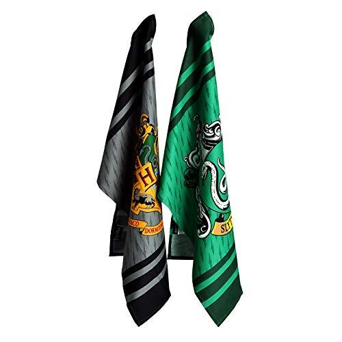 Groovy UK Juego de 2 Toallas de té Harry Potter Slytherin Hogwarts Escudo de Armas 45x65cm Algodón Bosque élfico