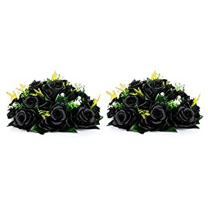 Nuptio Fake Flower Ball Arrangement Bouquet,15 Heads Plastic Roses with Base, Suitable for Our Store's Wedding Centerpiece Flower Rack for Parties Valentine's Day Home Décor…