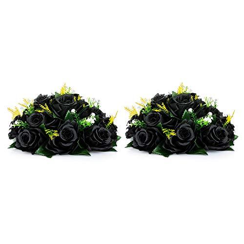 Nuptio Kunstblumen-Blumenstrauß, 15 Köpfe, Kunststoff-Rosen mit Sockel, geeignet für Hochzeitsdekoration 2 Pcs schwarz