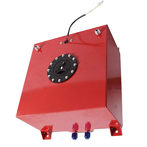 labwork 10 Gallon Aluminum Fuel Cell Gas Tank with Level Sender Inlet and Outlet Diameter 10 an (Red)