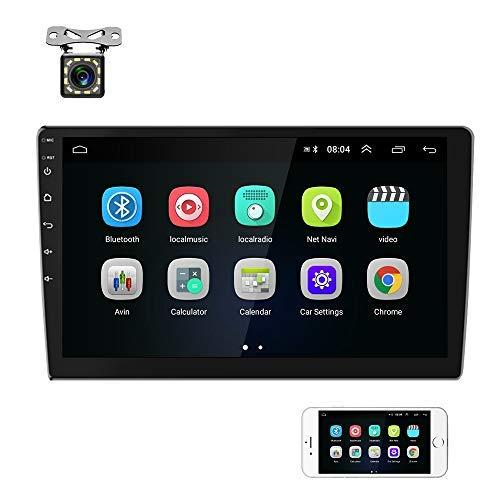 """Podofo Radio 2 DIN Android 2 + 32G Radio Coche Bluetooth con Pantalla táctil de 9 """"Navegación GPS WiFi Radio FM 2 USB Mirror Link, Soporte de Control del Volante, Cámara de visión Trasera"""