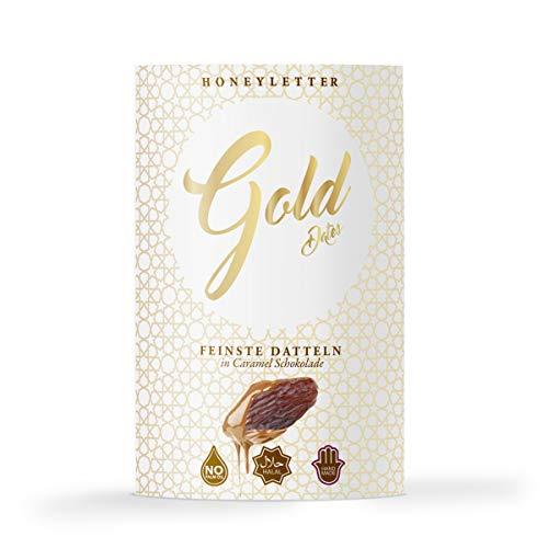 Schoko Datteln feinster belgischer Schokolade - 3er Pack Edle Delikatesse Handmade Halal (Caramel - 3er Pack)