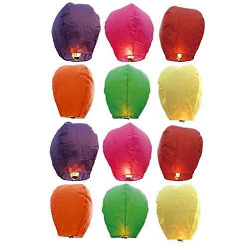 MICHAELA BLAKE 12Pcs Colore Misto Lanterne Volanti Cinese del Cielo Lanterne di Carta a Colori Assortiti Wishing Lanterne del Cielo con la Candela per i Bambini Il Divertimento