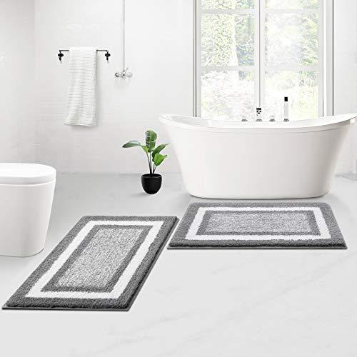 KMAT Bathroom Rugs and Mats Sets,2 PCS Ultra Soft Microfiber Non-Slip...