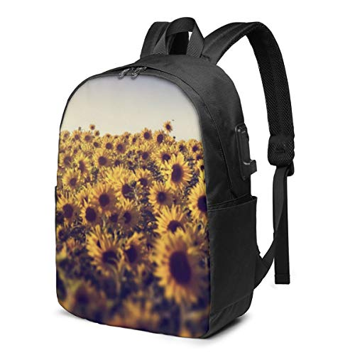 Yellow Flowers Sunflower Sunny Flower Field Travel School Backpack with USB Charging Port 17 Inch Doctor Work Bag for Women&Men College Students