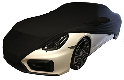 Super-Soft indoor Stretch Car Cover Auto Schutz Hülle passend für Porsche Cayman, 981, 718, GT4, Elfer, 911 / 992 / 991 / 997 Carrera / 996 4s / GTS / Targa / Turbo Abdeckung Stoff schwarz Abdeckplane Schutzhülle