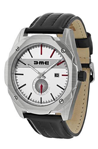 Reloj de pulsera clásico para hombre DMC Live The Dream | DeLorean Motor Company | Caja de acero inoxidable de 49 mm | Resistente al agua y los arañazos de 50 m | Esfera plateada | Correa de cuero gen