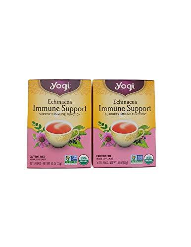 Yogi Herbal Tea Bags, Echinacea Immune Support 16 ea ( pack of 2), 32 Tea Bags, Organic, Non-GMO, Immune Support