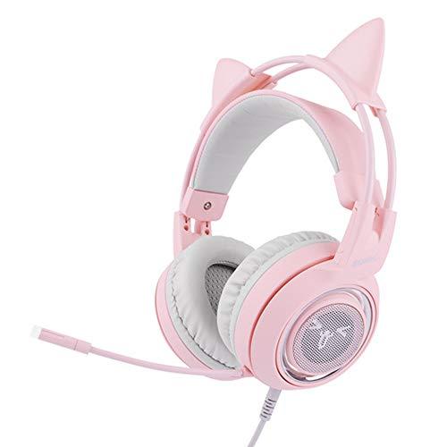 WRISCG Casque Jeu Rose, Casque Gamer - USB Son 7.1 Surround - Casque Gaming avec Anti Bruit Microphone - Casque Amovible pour Oreille de Chat pour Fille Femme, Cadeau pour Petite Amie,B